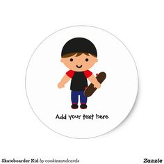 Sheet of 20 customisable skateboarder kid stickers (Brown hair version). Designed by Cookies and Cards. #stickers #skateboarder