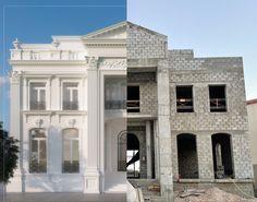 Classic House Exterior, Classic House Design, Design Your Dream House, Entrance Design, Facade Design, Exterior Design, Courtyard House, Facade House, Spanish House Design