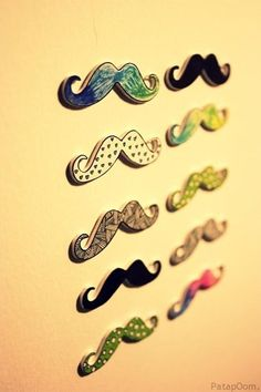 mustache magnets  hand painted?