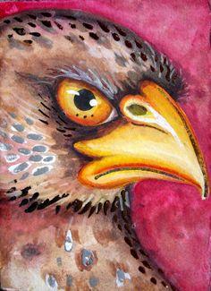 Lisa Luree Original EAGLE RAPTOR watercolor ACEO