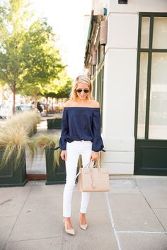 Ray Bans, Tibi Off Shoulder Top and AG white jeans with nude