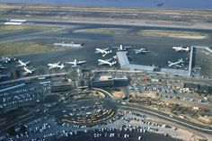 Aerial view of New York's La Guardia airport in 1959. Please watch all the various propliners