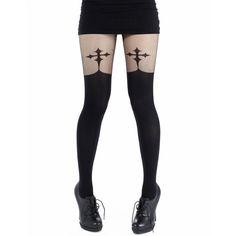 Pamela Mann Goth Cross Suspenders ($14) ❤ liked on Polyvore featuring intimates, hosiery, tights, socks, legs, leggings, bottoms, black, socks & tights and sheer black pantyhose
