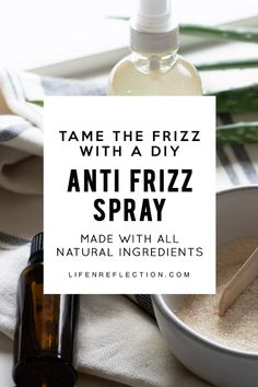 Tame the Frizz with a DIY anti frizz spray made with all natural ingredients including the best essential oils for frizzy hair! remedies baking soda remedies diy home remedies skin care remedies sore throat remedies treats Anti Frizz Spray, Anti Frizz Hair, Natural Hair Care, Natural Skin, Natural Hair Styles, Natural Beauty, Natural Makeup, Organic Beauty, Productos Anti Frizz