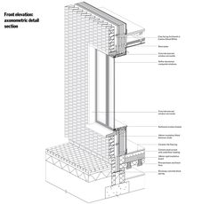 Section Drawing Architecture, Architecture Building Design, Concrete Architecture, Facade Design, Interior Architecture, Architecture Blueprints, Landscape Architecture, Brick Construction, Construction Drawings