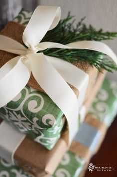 Beautiful stacked boxes trimmed in burlap ribbon