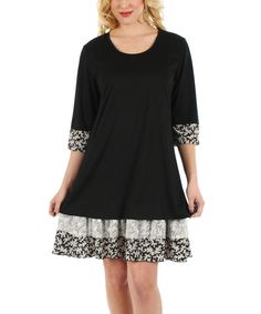 Look at this Black & White Floral-Ruffle Shift Dress on #zulily today!