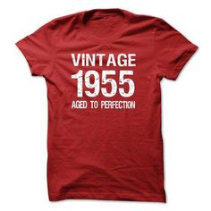 VINTAGE 1955 Aged To Perfection T Shirts, Hoodies. Get it now ==► https://www.sunfrog.com/Birth-Years/VINTAGE-1955-Aged-To-Perfection-T-shirt-and-Hoodie-4386-Red-12258493-Guys.html?57074 $19