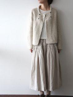 [Envelope Online Shop]Smocked skirt + knit boxy cardi