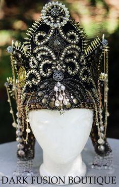 Headdress, High Priestess, Ritual, Indonesia, Goddess, Bali, Bellydance, Costume,  Indian,Tribal, Nouveau, Gothic, Dark Fusion Boutique. $525.00, via Etsy.