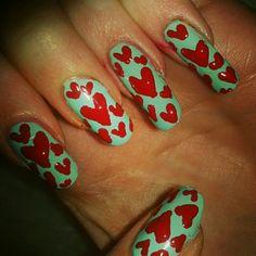 Hearts Valetines day... Nail art