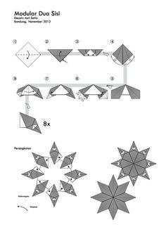 Origami Modular Dua Sisi Folding Instructions Origami Paper Folding, Origami And Kirigami, Fabric Origami, Modular Origami, Origami Stars, Origami Koi Fish, Origami Lotus Flower, Origami Instructions, Origami Tutorial