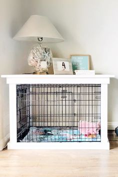 This DIY Dog Crate Furniture Piece Will Transform Your Living Room. This DIY Dog Crate Furniture Piece Is Easy to Make and Surprisingly Chic. The crown jewel in my living room is the crate for my pup that looks like a piece of furniture. Diy Dog Crate, Dog Crate Table, Wood Dog Crate, Dog Crate Cover, Crate Bed, Dog Kennel Cover, Diy Dog Kennel, Diy Dog Bed, Dog Beds