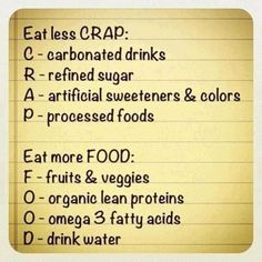 Fitness motivation: Eat Less Crap - Workout Obsession Get Healthy, Healthy Habits, Healthy Tips, Healthy Choices, Eating Healthy, Eating Clean, Healthy Weight, Healthy Recipes, Easy Recipes