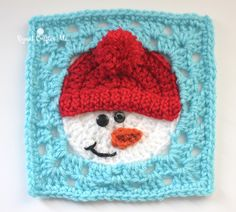 Free pattern called Snowman Square with photo tutorial by Repeat Crafter Me aka Sarah Zimmerman