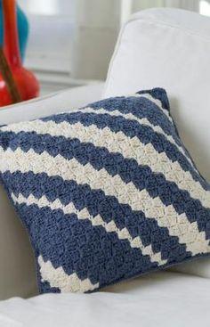 Almofada em crochê diagonal