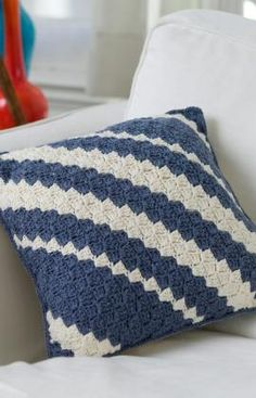 Diagonal Pillow - I love working the diagonal stitch, and I have no reason for pinning this one except for the fact that I just plain LOVE the way this looks. #redheartyarn