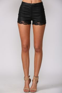 Lace trim leather shorts.... I need these! And those legs to wear them in...