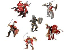 The Papo Red Knights Deluxe Gift Set is a top of the range super saver for anyone looking to enhance their collection of Papo knights or medieval playset. These knights can be added to any wooden toy castle including the full range from Le Toy Van. Papo Knights Set - 8 Knights and Horses included. Lively selection of two armoured battle horses with knight riders, plus a variety of four different fighting knights for ground support.