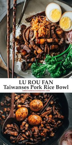 Take your taste buds to Taiwan with the classic one-bowl Lu Rou Fan: a dish of tender-braised pork belly with a rich and savory gravy, eggs, and veggies over steamed rice.