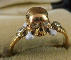 Antique Memento Mori Diamond Skull Crossbone Ring Diamond Eyes | eBay