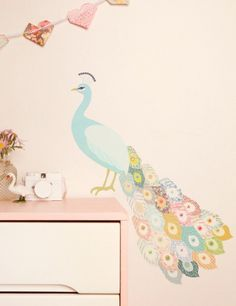 Peacock Plumage Fabric Wallsticker