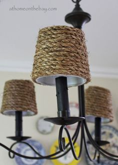 DIY: Pottery Barn Inspired Chandelier Shades I've pretty much already done this one. Painted the chandelier black and added some straw shades I found on sale at Steinmart. Home Depot Chandelier, Chandelier Lamp Shades, Cheap Chandelier, Outdoor Chandelier, Chandeliers, Pottery Barn Furniture, Bar Furniture, Furniture Market, Furniture Outlet
