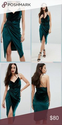 ASOS Green Velvet Faux Wrap Style Dress NWOT. Pull on, super stretchy material. Size US 4 UK 8. ASOS Dresses Mini