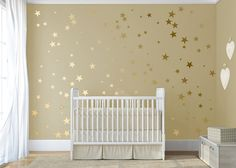 """Gold confetti stars decal Twinkle little star decal for walls Baby nursery decor Stick on Wall Art ★ SIZE ★ 120 Gold Stars Stars comes in 6 sizes 4.4 by 4.4"""" 3.8 by 3.8 2.8 by 2.8 2.3 by 2.3 1.7 by 1.7 0.9 by 0.9 For custom size, please contact us:) ★ COLORS SELECTION ★ All the colors in our color palette are currently available You can find a color palette by scrolling listing image to the right. Please include COLOR selection in the MESSAGE TO DECALISLAND box during check out If you do..."""