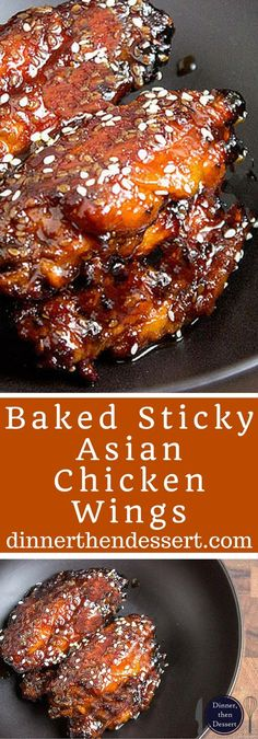 Sticky Asian chicken wings made with a hoisin take on a Mongolian beef marinade. They're sweet, savory, garlicky, just plain awesome and basically begging to be made for your Superbowl party! # Food and Drink chicken wings Baked Sticky Asian Chicken Wings Asian Marinade For Chicken, Asian Chicken Wings, Sticky Chicken Wings, Beef Marinade, Asian Wings, Chicken Drumsticks, Marinades For Chicken, Honey Soy Marinade, Honey Soy Chicken Wings