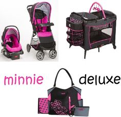 Minnie Mouse Newborn Set Play Yard Travel System Baby Girl Pink Infant Gift New Minnie Mouse Nursery, Twin Strollers, Travel Systems For Baby, Single Stroller, Travel Stroller, Play Yard, Twin Girls, Disney Girls, Baby Gear