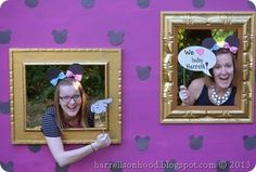 mickey or minnie DISNEY themed gender reveal party ideas, Disney themed photobooth