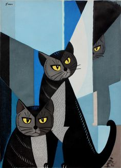Art by Tomoo Inagaki (Japanese, 1902-1980), ca.1960, Cats in Blue, Color woodcut print.