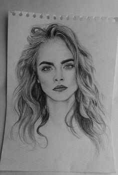 grafika drawing, cara delevingne, and model Pencil Portrait, Portrait Art, Amazing Drawings, Amazing Art, Cara Delevingne Drawing, Art Drawings Sketches, Pencil Drawings, Face Sketch, Beauty Art