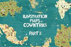 Illustration maps by Mio Buono on @creativemarket