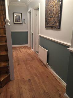 "Farrow and ball ""oval room blue"" and ""blackened"" Hallway Colours, House, Georgian Homes, Oval Room Blue, New Homes, Edwardian House, Dado Rail Living Room, Hallway Designs, Blue Hallway"