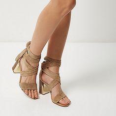 Beige suede wrap block mid heel sandals - heeled sandals - shoes / boots - women