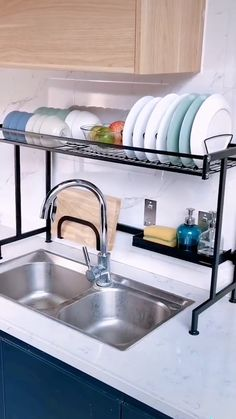 Use this dish drying rack over the sink or on the counter, save tons of space a Apartment Kitchen, Home Decor Kitchen, Kitchen Furniture, Kitchen Ideas, Furniture Nyc, Coaster Furniture, Kitchen Supplies, Furniture Online, Cheap Furniture