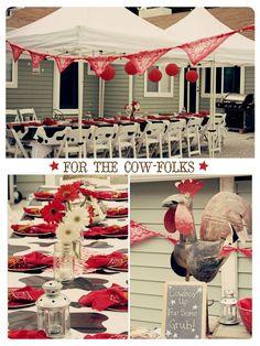 Western theme - cow print table cloth, red bandanas as napkins and banner, mason jars, lanterns