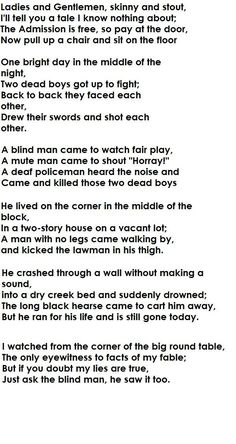 I love this poem (Two Dead Boys)  quite imaginative...