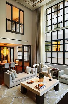 high ceilings, dark windows