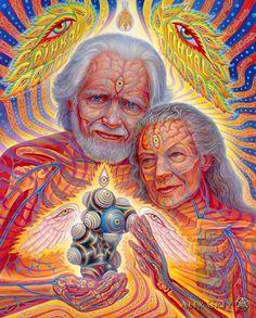 """Alex Gray é um artista americano bastante conhecido por seu trabalho psicodélico e cheio de simbologia, algo conhecido como """"arte visionária"""". LSD. Anatomia"""