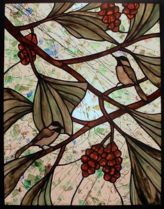 Century Studios Stained Glass Chickadee Window