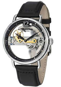 Price:$160.00 #watches Stuhrling Original 465.33151, This men's timepiece is a definite conversation starter. The fully skeletonized dial gives you a view of the intricate and rare automatic movement that powers this timepiece. A soft leather strap makes this watch stylish yet comfortable.