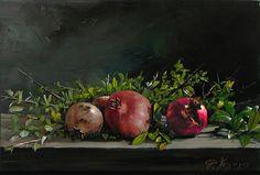 Three Pomegranates Painting by Demetrios Vlachos