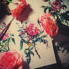 Rose.  Watercolor.  Art