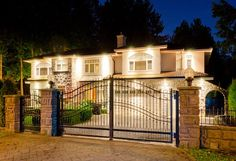 Find Luxury House Gates Suburbs Dusk Vancouver stock images in HD and millions of other royalty-free stock photos, illustrations and vectors in the Shutterstock collection. Diy Fence, Fence Ideas, Aluminum Fence, Front Fence, Fire Pit Backyard, Iron Gates, Outdoor Living, Outdoor Decor, Dusk