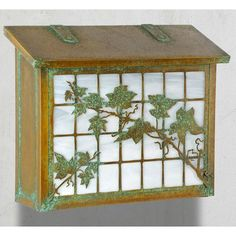 America's Finest Mailboxes English Ivy Wall Mounted Mailbox Finish: Warm Brass, Glass Color: Gold Iridescent