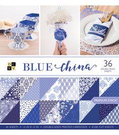 DCWV Pack of 36 12''x12'' Premium Printed Cardstock Stack-Blue China