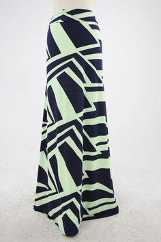 Sage & Navy Abstract Pattern Maxi Skirt $44.99